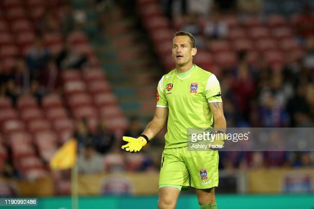 Glen Moss of the Newcastle Jets reacts during the round eight A-League match between the Newcastle Jets and the Western Sydney Wanderers at McDonald...