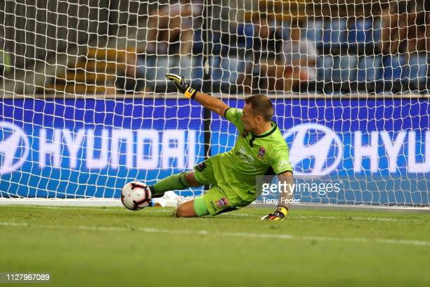Glen Moss of the Newcastle Jets saves a penalty during the round 18 ALeague match between the Newcastle Jets and the Wellington Phoenix at McDonald...