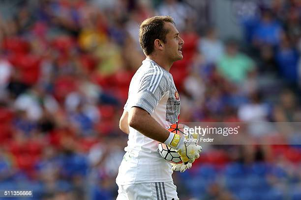 Glen Moss of the Phoenix in action during the round 20 ALeague match between the Newcastle Jets and Wellington Phoenix at Hunter Stadium on February...