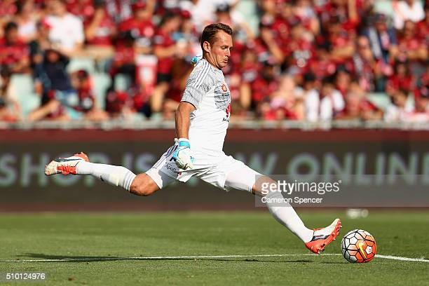 Glen Moss of the Phoenix kicks during the round 19 ALeague match between the Western Sydney Wanderers and the Wellington Phoenix at Pirtek Stadium on...