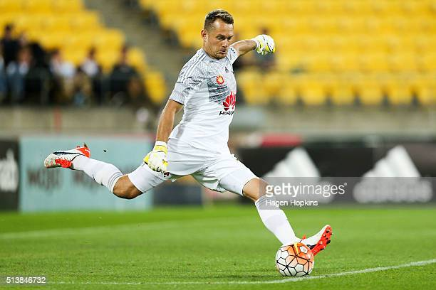 Glen Moss of the Phoenix kicks during the round 22 ALeague match between the Wellington Phoenix and Adelaide United at Westpac Stadium on March 5...