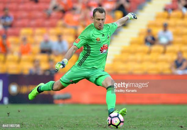Glen Moss of the Phoenix kicks the ball during the round 21 ALeague match between the Brisbane Roar and the Wellington Phoenix at Suncorp Stadium on...