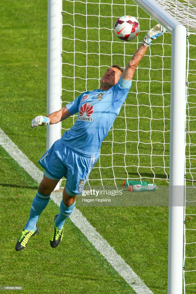 Glen Moss of the Phoenix makes a save during the round three A-League match between Wellington Phoenix and the Newcastle Jets at McLean Park on October 27, 2013 in Napier, New Zealand.