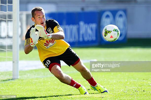 Glen Moss of the Phoenix makes a save while warming up during the round one ALeague match between Wellington Phoenix and Perth Glory at Westpac...