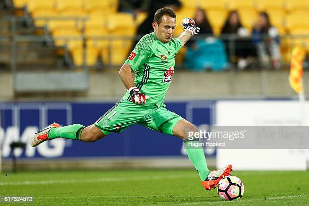 Glen Moss of the Phoenix takes a goal kick during the round three ALeague match between the Wellington Phoenix and Sydney FC at Westpac Stadium on...