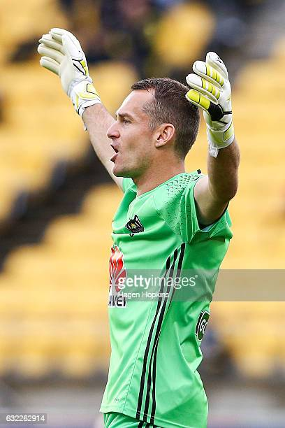 Glen Moss of the Phoenix talks to his team during the round 16 ALeague match between the Wellington Phoenix and the Brisbane Roar at Westpac Stadium...