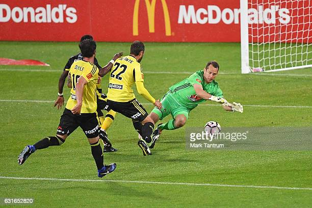 Glen Moss of the Wellington Phoenix defends during the round 15 ALeague match between the Wellington Phoenix and the Central Coast Mariners at...