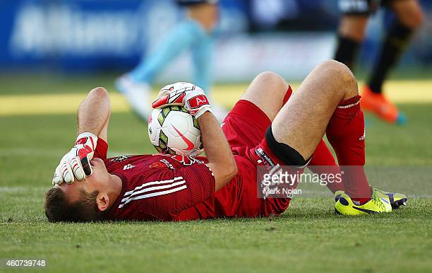 Glen Moss of Wellington lies on the ground injured during the round 12 ALeague match between Sydney FC and Wellington Phoenix at Allianz Stadium on...
