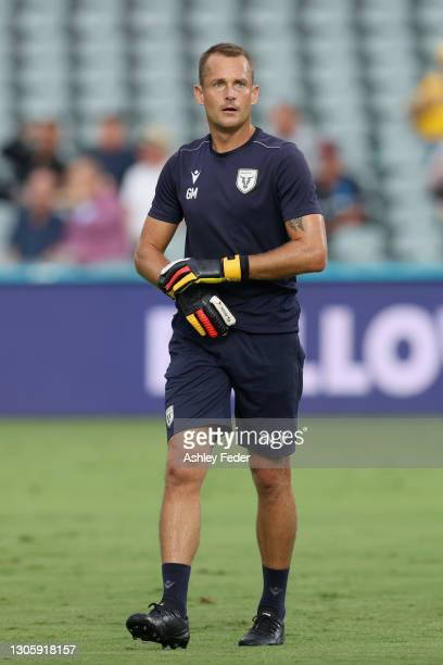 Glen Moss warms up with his team Macarthur FC during the A-League match between the Central Coast Mariners and Macarthur FC at Central Coast Stadium,...