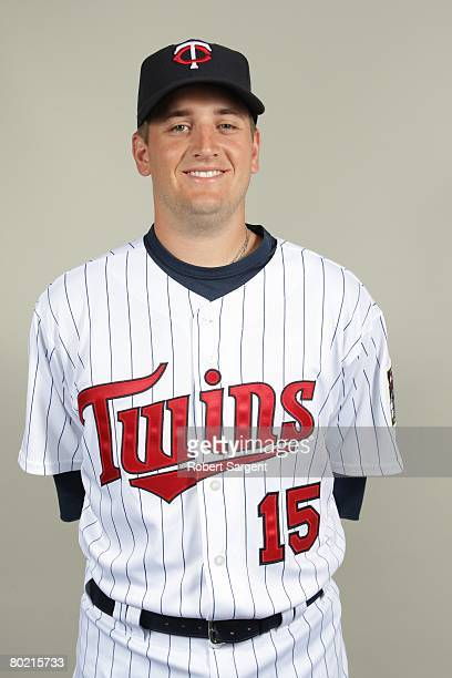 Glen Perkins of the Minnesota Twins poses for a portrait during photo day at Hammond Stadium on February 25 2008 in Ft Myers Florida