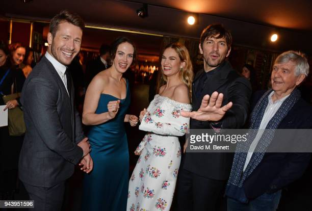 Glen Powell Jessica Brown Findlay Lily James Michiel Huisman and Sir Tom Courtenay attend the World Premiere of The Guernsey Literary And Potato Peel...