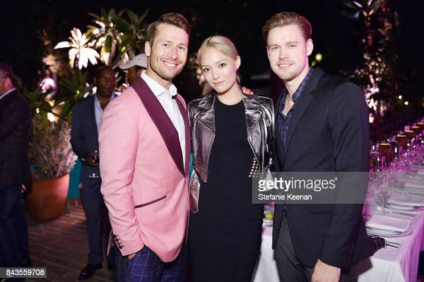Glen Powell Pom Klementieff and Chord Overstreet attend Esquire Celebrates September Issue's 'Mavericks of Style' Presented by Hugo Boss at Chateau...