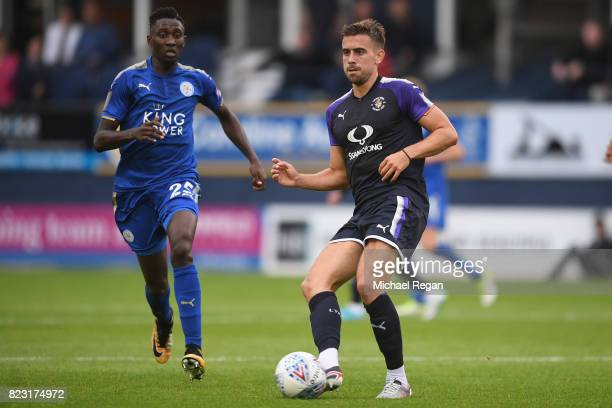 Glen Rea of Luton in action with Wilfried Ndidi of Leicester during the preseason friendly match between Luton Town and Leicester City at Kenilworth...