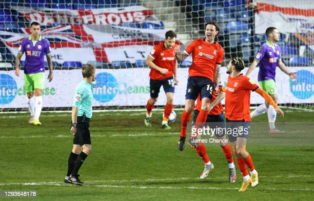Glen Rea of Luton Town celebrates after scoring his team's first goal during the Sky Bet Championship match between Luton Town and Bristol City at...