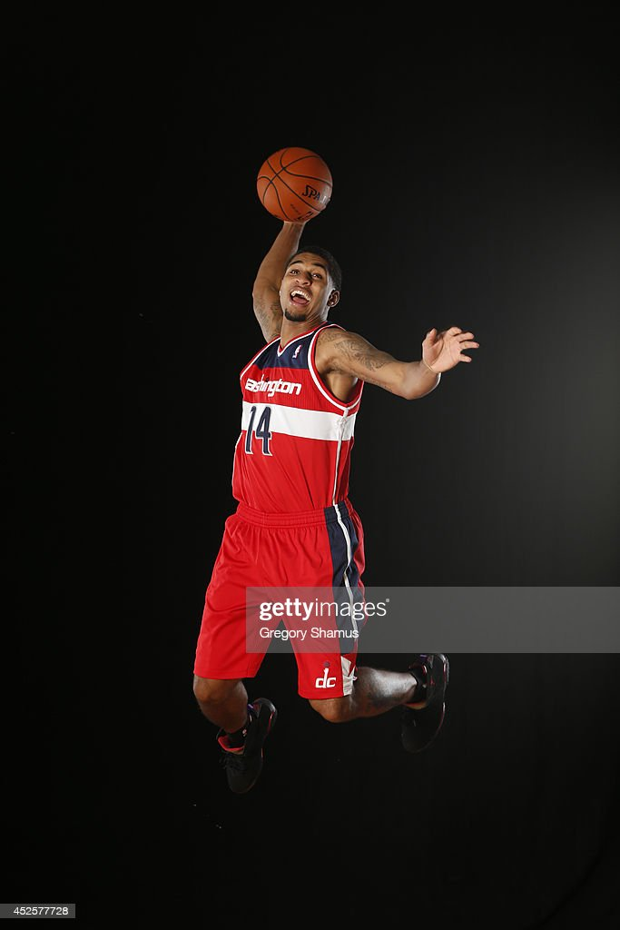 Glen Rice Jr. #14 of the Washington Wizards poses for a portrait during the 2013 NBA rookie photo shoot on August 6, 2013 at the Madison Square Garden Training Facility in Tarrytown, New York.