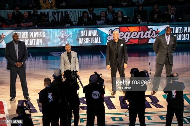 Glen Rice Muggsy Bogues Del Curry and Alonzo Mourning at the 68th NBA AllStar Game on February 17 2019 in Charlotte North Carolina