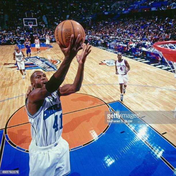 Glen Rice of the Charlotte Hornets goes up for a lay up during the 1997 NBA AllStar Game played on February 9 1997 at Gund Arena in Cleveland Ohio...