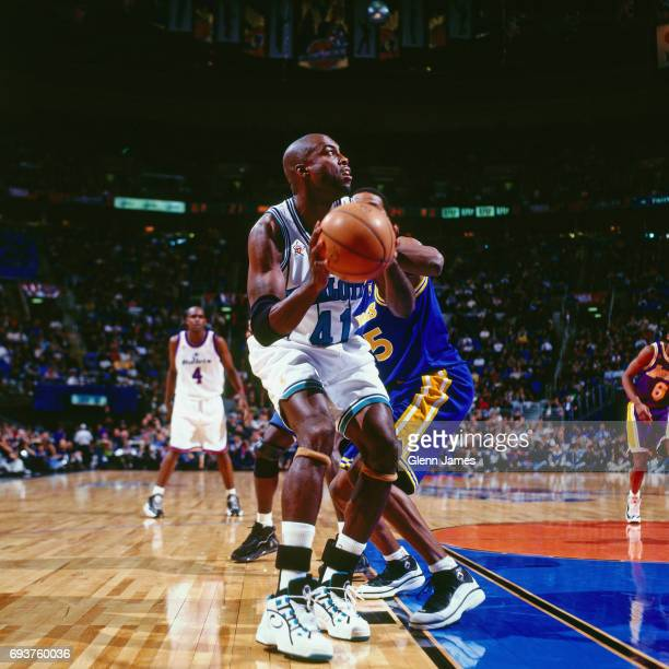 Glen Rice of the Charlotte Hornets handles the ball during the game during the 1997 NBA AllStar Game played on February 9 1997 at Gund Arena in...