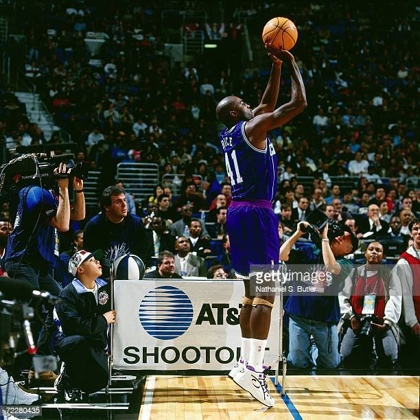 Glen Rice of the Charlotte Hornets shoots a jump shot during the 1997 ATT Three Point Shootout on February 8 1997 at the Gund Arena in Cleveland Ohio...