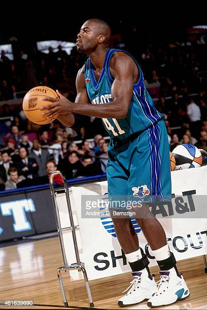 Glen Rice of the Charlotte Hornets shoots during the three point contest as part of NBA All-Star Weekend on February 7, 1998 at Madison Square Garden...