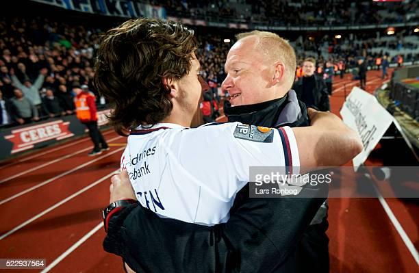 Glen Riddersholm head coach of AGF Aarhus and Daniel A Pedersen of AGF Aarhus celebrate after the Danish Cup DBU Pokalen semifinal match between AGF...