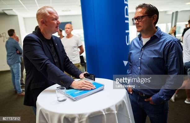 Glen Riddersholm head coach of AGF Aarhus speaks to Thomas Thomasberg head coach of Hobro IK during the Danish Alka Superliga media event at Brondby...