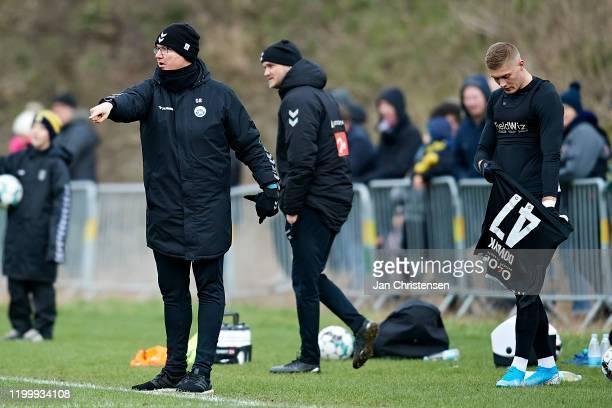 Glen Riddersholm, head coach of SonderjyskE gives instructions during the testmatch between Brondby IF and SonderjyskE at Brondby Stadion on February...