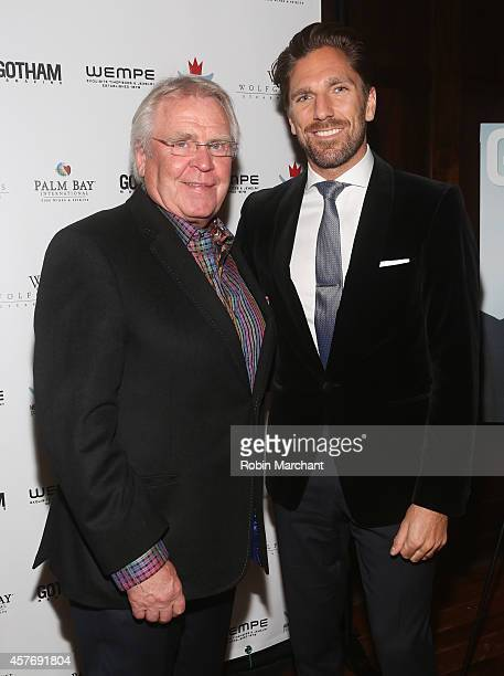 Glen Sather and Henrik Lundqvist attend Gotham Magazine Celebrates Cover Star Henrik Lundqvist At Wolfgang's Steakhouse on October 22 2014 in New...