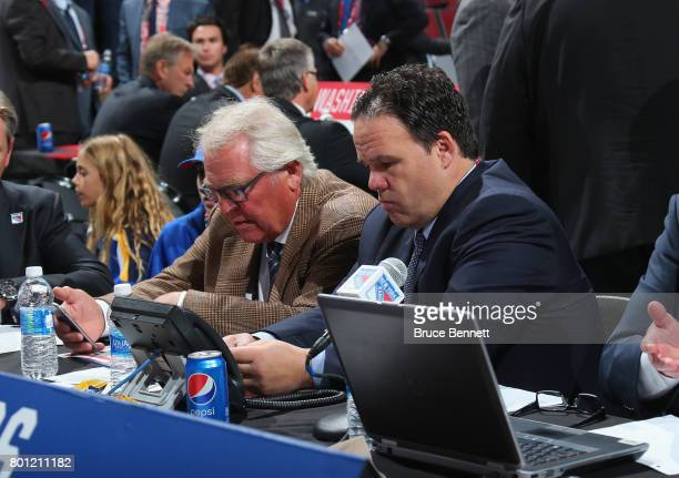 Glen Sather and Jeff Gorton of the New York Rangers attend the 2017 NHL Draft at the United Center on June 23 2017 in Chicago Illinois