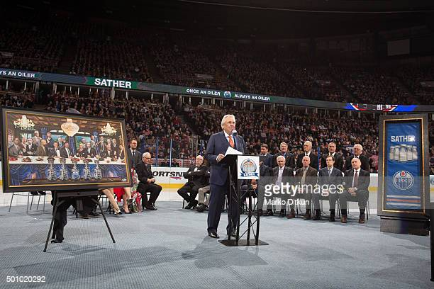 Glen Sather gives a speech at his banner raising ceremony prior to the game between the Edmonton Oilers and New York Rangers on December 11 2015 at...