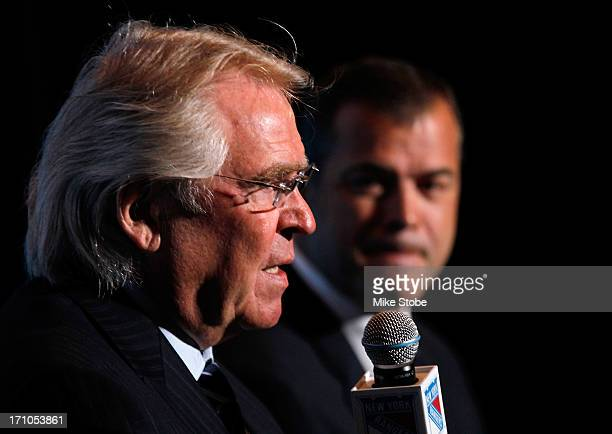 Glen Sather, New York Rangers President and General Manager and Alain Vigneault Head Coach of the New York Rangers speak to the media during a press...