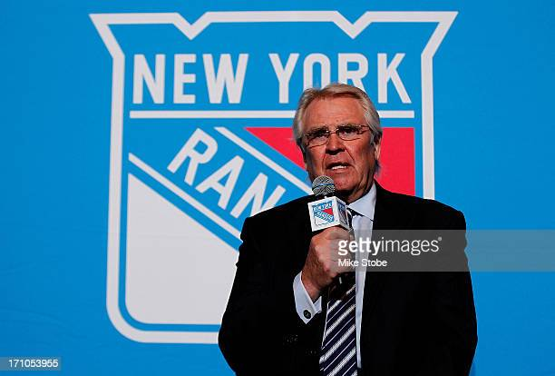 Glen Sather New York Rangers President and General Manager speak to the media during a press conference at Radio City Music Hall on June 21 2013 in...