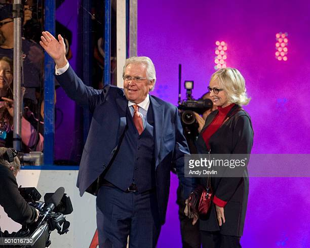 Glen Sather salutes the crowd at Rexall place after his banner raising ceremony on December 11 2015 at Rexall Place in Edmonton Alberta Canada