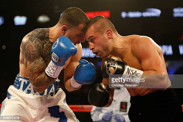Glen Tapia and David Lemieux fight during the NABO middleweight title fight at TMobile Arena on May 7 2016 in Las Vegas Nevada