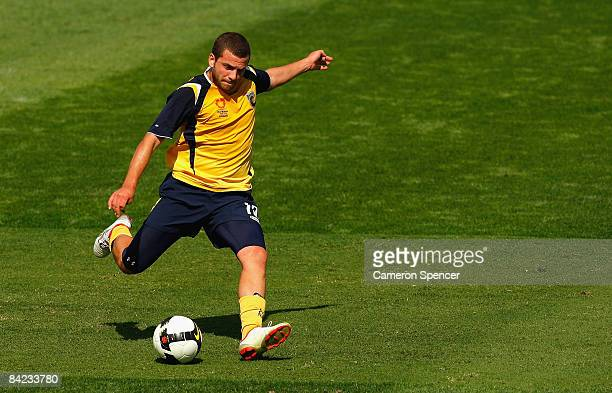 Glen Trifiro of the Mariners kicks the ball during the round 16 National Youth League match between the Central Coast Mariners and the Queensland...