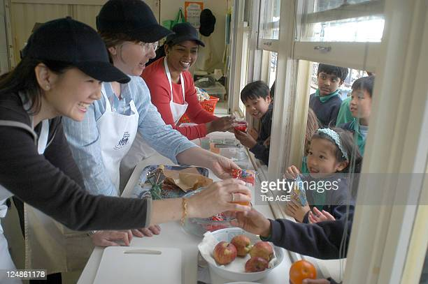 Glen Waverley primary school gets some help from Mothers Angelina Yen Alison Prendergast and Diane Naidoo in the school canteen