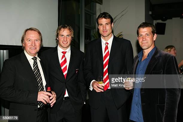 Glen Wheatley Jude Bolton Jason Ball and Rhys Muldoon pose for a photo at the Big Night Out Cocktail Party to promote the upcoming Sydney Swans v...