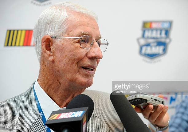 Glen Wood 2012 NASCAR Hall of Fame inductee speaks to the media during the NASCAR Hall of Fame Voting Day at NASCAR Hall of Fame on June 14 2011 in...