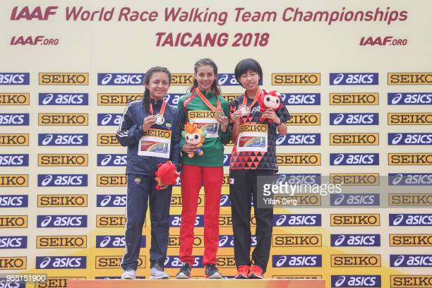 Glena Morejon of Ecuador Alegna Gonzalez of Mexico and Nanako Fujii of Japan pose for photo during medal ceremony of Men's 20 kilometres Race Walk of...