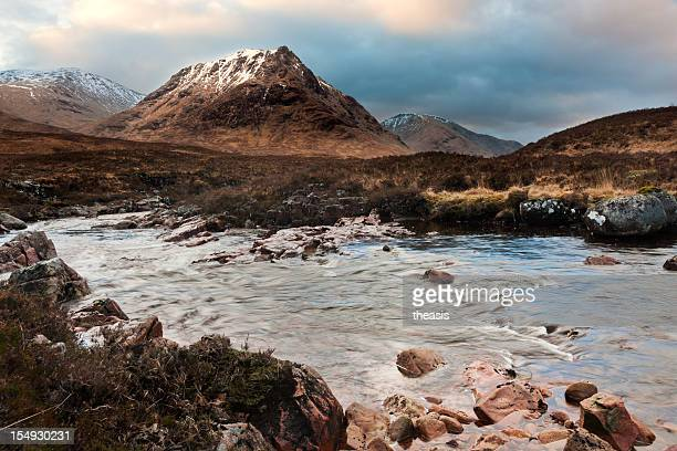 glencoe and glen etive at sunrise - theasis stock pictures, royalty-free photos & images