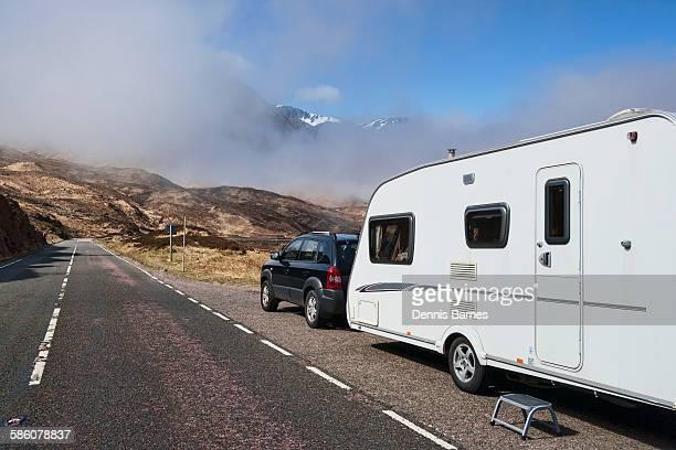 Glencoe caravan, misty mountains, Scotland
