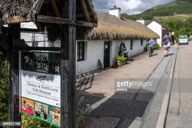 Glencoe North Lorn Folk Museum in restored cottage with thatched roof Lochaber Scottish Highlands Scotland United Kingdom