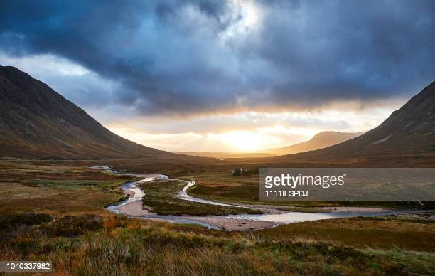 glencoe view over the vally - scotland stock pictures, royalty-free photos & images