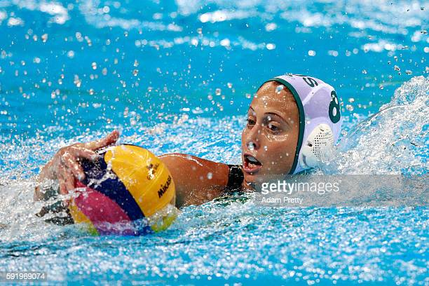 Glencora Mcghie of Australia during the Women's Water Polo 5th 6th Classification match between Australia and Spain on Day 14 of the Rio 2016 Olympic...