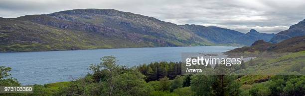 Glencoul Thrust on the Aird da Loch peninsula showing Cambrian quartzite sandwiched between layers of Lewisian gneiss in Scotland