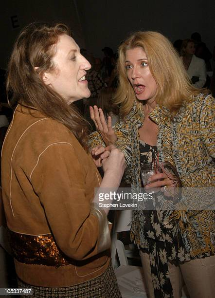 Glenda Bailey and Candace Bushnell during Olympus Fahion Week Spring 2005 Tuleh Front Row at Plaza Tent Bryant Park in New York City New York United...
