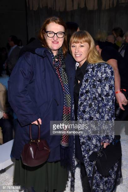 Glenda Bailey and photographer Cindy Sherman attend the Calvin Klein Collection front row during New York Fashion Week at New York Stock Exchange on...
