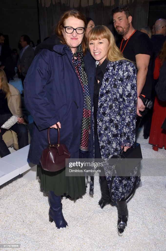 Glenda Bailey and photographer Cindy Sherman attend the Calvin Klein Collection front row during New York Fashion Week at New York Stock Exchange on February 13, 2018 in New York City.