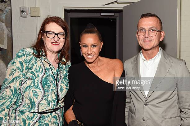 Glenda Bailey Donna Karan and Steven Kolb attend New York Fashion Week September 2016 at Urban Zen on September 13 2016 in New York City