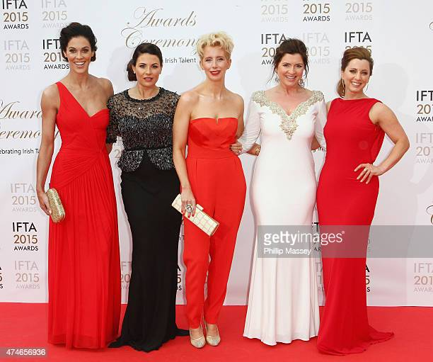 Glenda Gilson Lisa Cannon Aisling O'Loughlin Colette Fitzpatrick and Sinead Desmond attend the Irish Film And Drama Awards on May 24 2015 in Dublin...